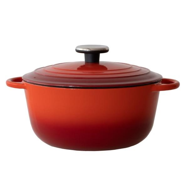 BAF kleiner roter Kochtopf 24 cm aus emailliertem Gusseisen & Deckel - Art.-Nr. 100131242