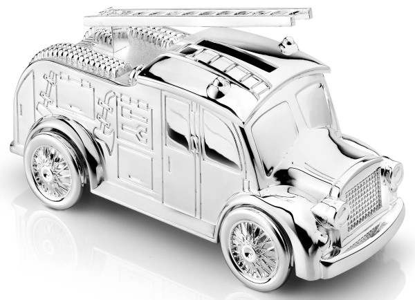 Zilverstad Spardose Feuerwehrauto versilbert anlaufgeschützt L 7 cm H 15 cm - Art.-Nr. 7669261