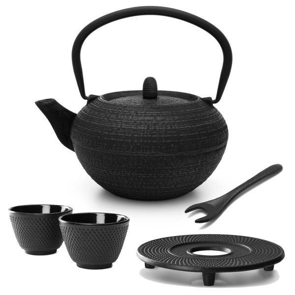 schwarze runde gusseiserne Asia Teekanne 1.2 Liter inkl. Filtersieb & Untersetzer & 2 Becher & Deckelheber