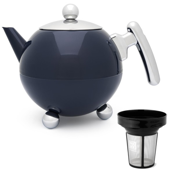 große blaue bauchige doppelwandige Edelstahl Teekanne 1.2 Liter & Filter