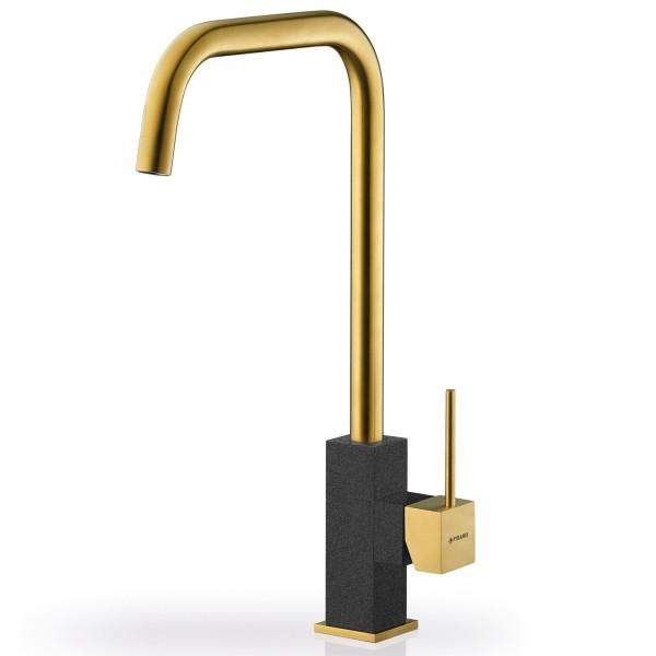 goldener Küchen Einhebelmischer Ausladung 183 mm