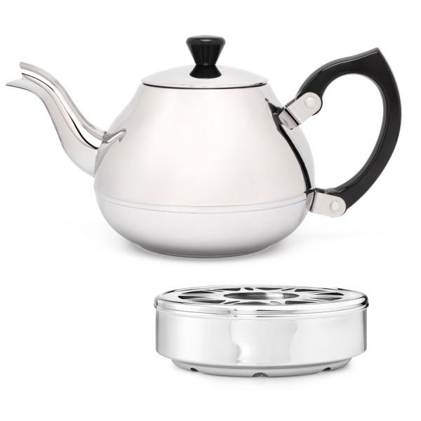 glänzende einwandige Edelstahl Teekanne 0.75 L schwarzer Griff & runder Teewärmer