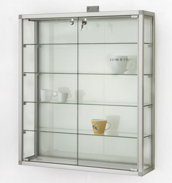 kleine Glas-Hängevitrine Alu beleuchtet & Schloß ca. 80 cm mit Glasrückwand / mit quadratischen Profilen