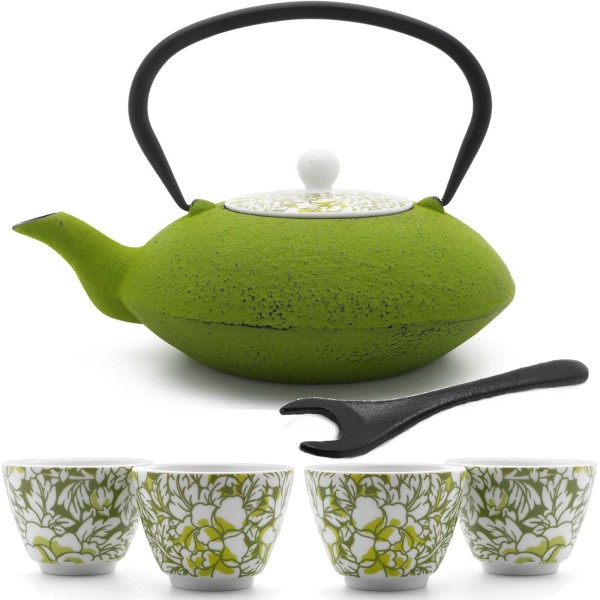 grüne asiatische Teekanne Gusseisen 1.2 Liter & Porzellan Teebechern & Deckelheber 4 Stück