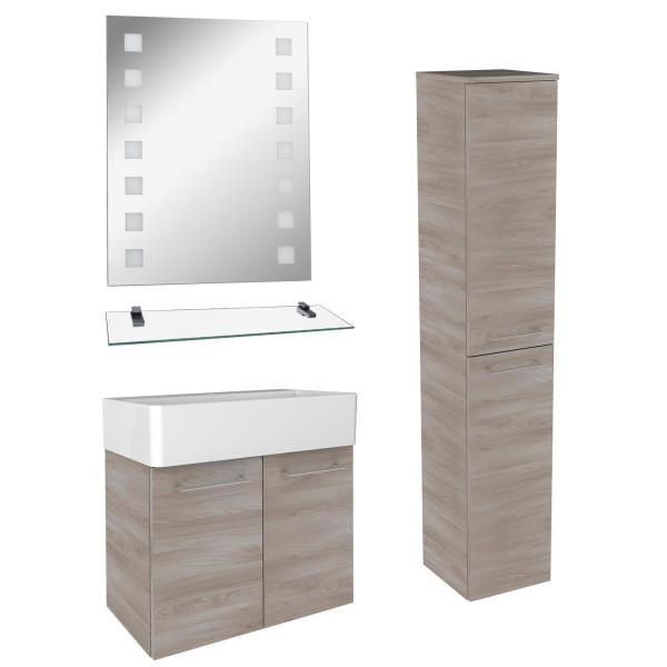 Fackelmann Badezimmer Set 5 teilig hängend braun & Aufsatzbecken