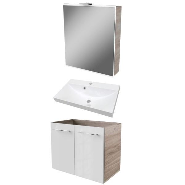Fackelmann Badezimmermöbel 3 teilig braun weiß & LED Spiegelschrank 60 cm