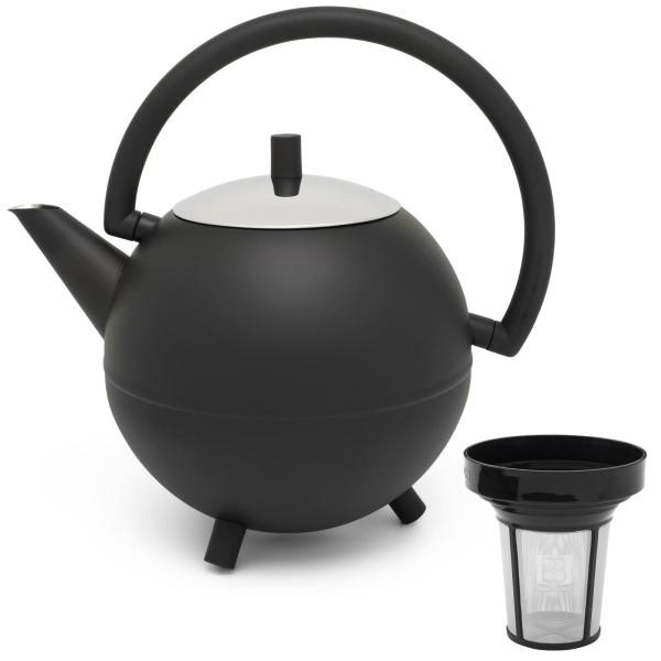 bauchige schwarze doppelwandige Edelstahl Teekanne 1.2 Liter & Teefilter-Sieb