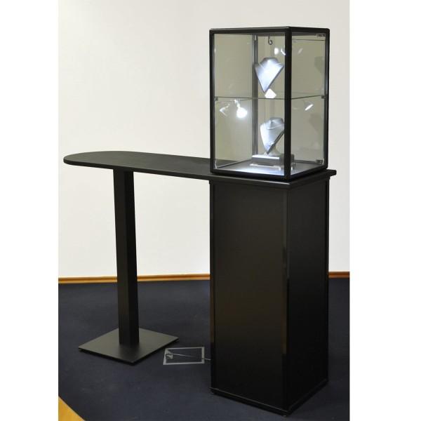 abschließbare Thekenvitrine  für Schmuck aus Glas mit Unterschrank und LED-Beeluchtung  mit quadratischen Profilen