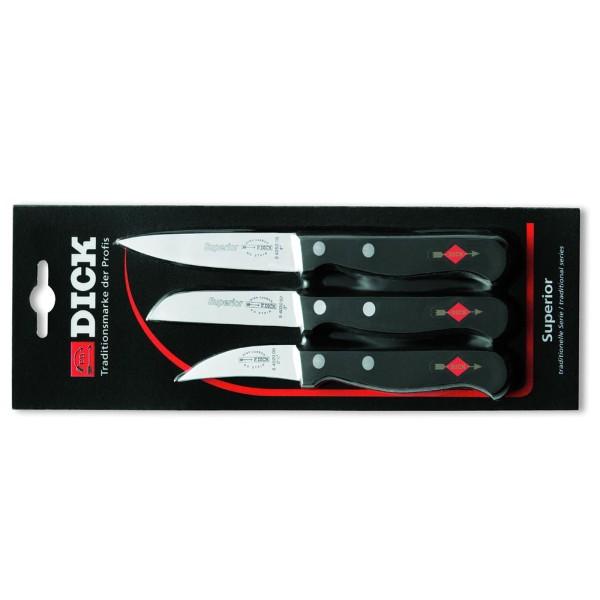 Dick 8470004 Superior Messerset, 3-teilig schwarz