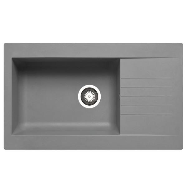 graue Einbauspüle 86 cm Fibertek 1 großes Becken