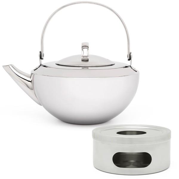 kleine glänzende einwandige Design Edelstahl Teekanne 0.8 L & runder Teewärmer