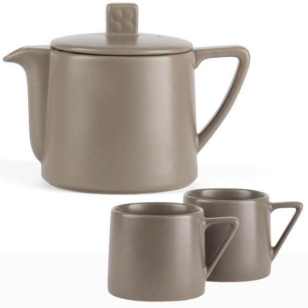 Teekanne Set Keramik Kanne 0,5 Liter Teebereiter mit 2 Becher grau