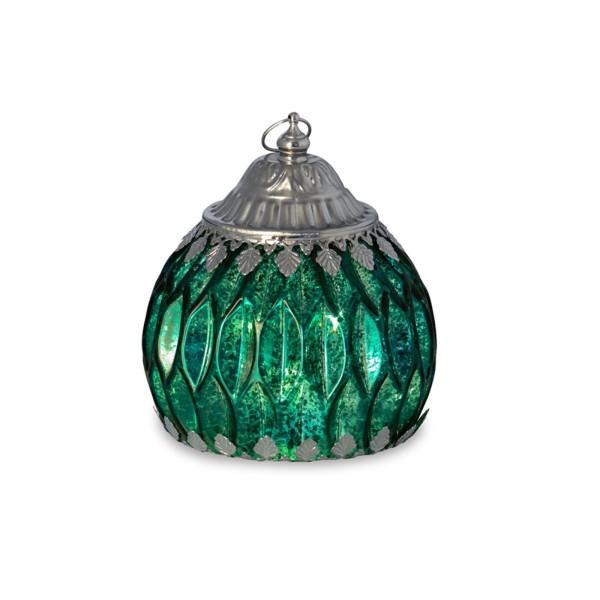 große grüne antike LED Glas Laterne Ø 12.5 cm Lichterkette innen - Art.-Nr. 5305ver