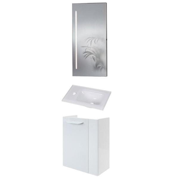 Fackelmann schmales weißes Bad Gäste WC Set hängend 45 cm