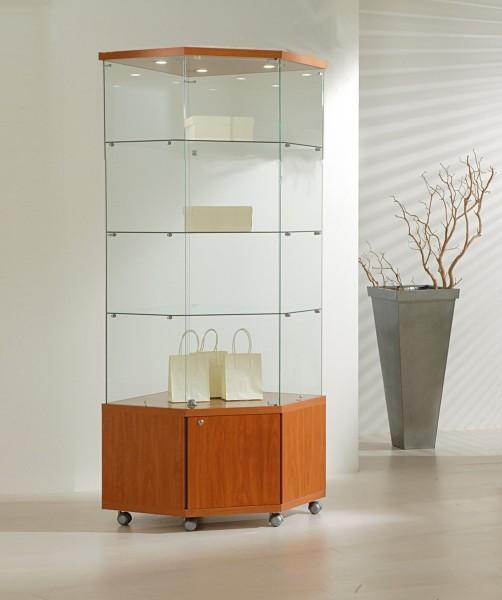 Eckvitrine Glas abschließbar Vitrine mit Unterschrank rollbar kirschbaum 68 x 40 cm - Art.-Nr. SV6868M-ob-r-kirsche