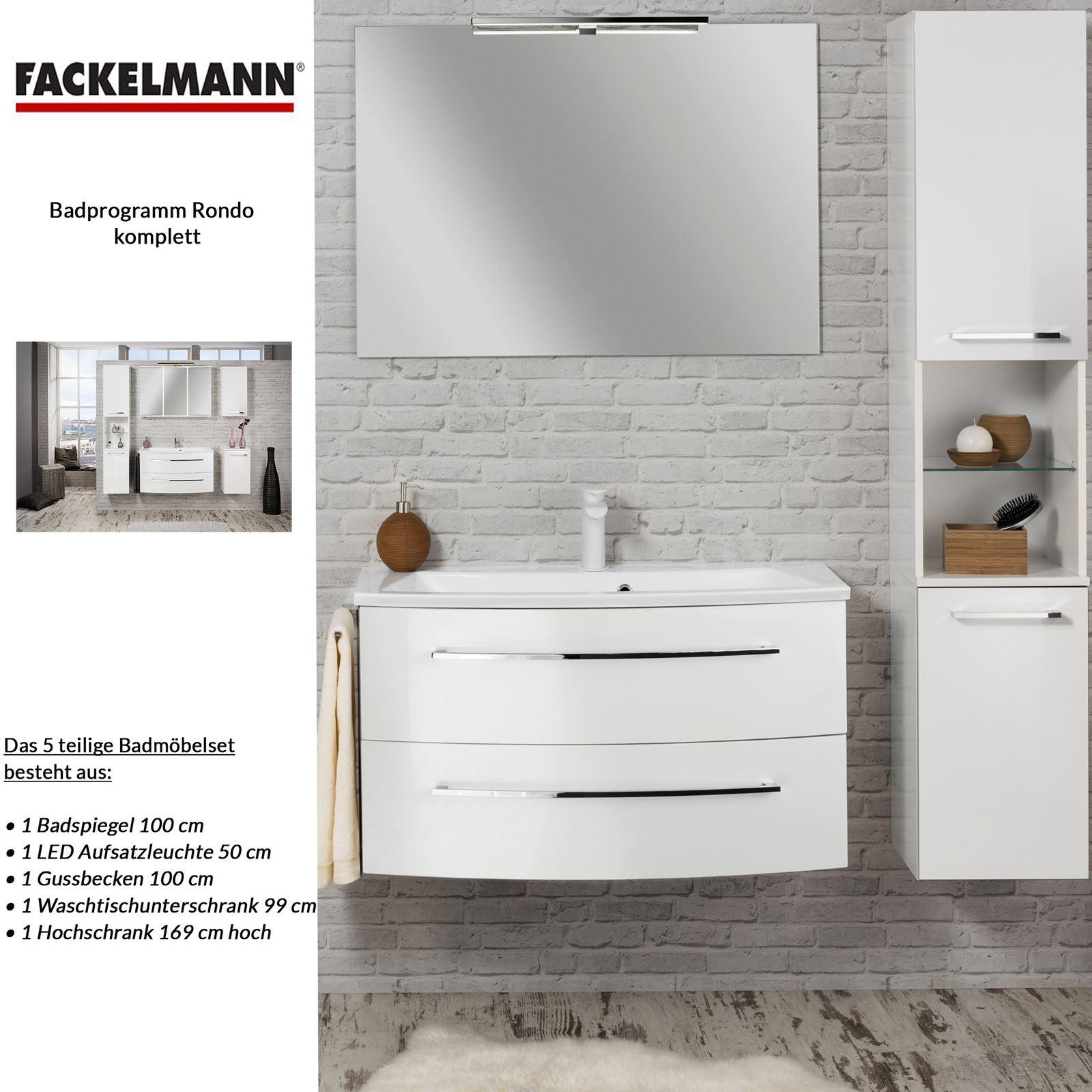 Fackelmann weißes Badezimmer Möbel Set hängend 100 cm 5 tlg