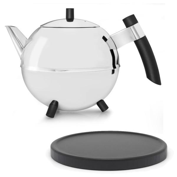 runde große glänzende doppelwandige Edelstahl Teekanne 1.2 L & schwarzer Holzuntersetzer