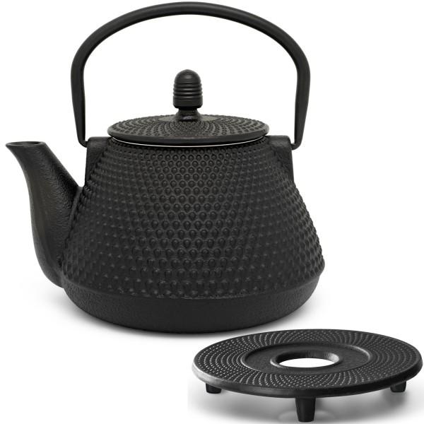 kleine schwarze asiatische gusseiserne Teekanne 1.0 Liter Set & Guss Untersetzer