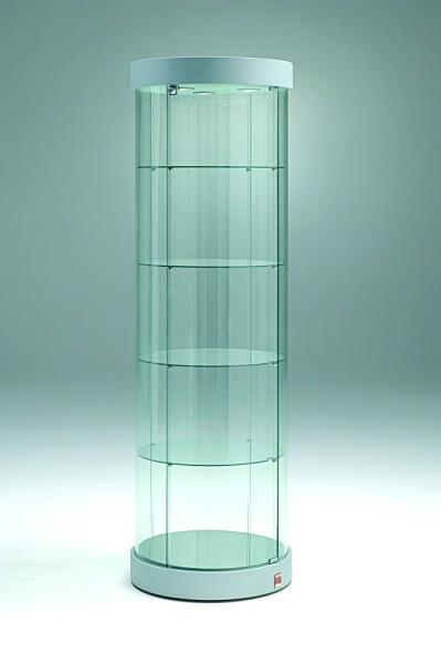 hohe runde moderne Design Glasvitrine mit Schloss Ø 57 cm rollbar - Art.-Nr. PV57-190-mb-3LED-grau