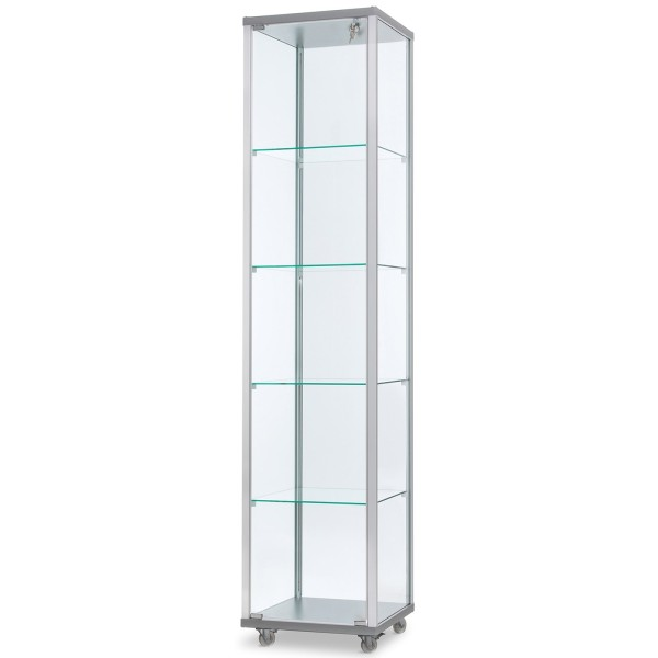 schmale verschließbare Glasvitrine mit LED-Beleuchtung 40 x 40 cm - Art.-Nr. IV4242-mb-r-gr