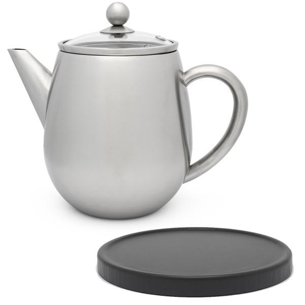kleine hohe doppelwandige Edelstahl Teekanne 1.1 Liter mit Filtersieb & schwarzer Holzuntersetzer