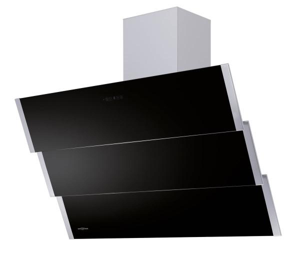 Oranier Kopffrei Wandhaube Lito Edelstahl Glas schwarz 90 cm