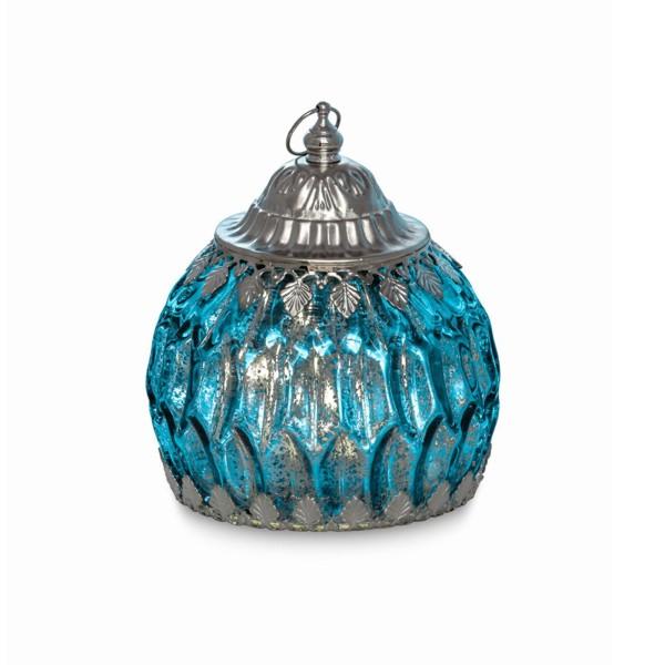 große blaue antike LED Glas Laterne Ø 12.5 cm Lichterkette innen - Art.-Nr. 5326ver