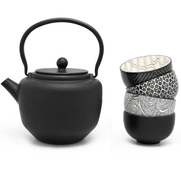 schwarzes asiatisches Guss Teekannen Set 1.3 Liter und 4 Porzellan-Teebecher