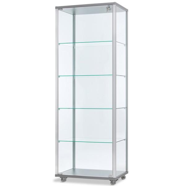 hohe verschließbare Glasvitrine mit LED-Beleuchtung 60 x 40 cm - Art.-Nr. IV6042-mb-r-gr