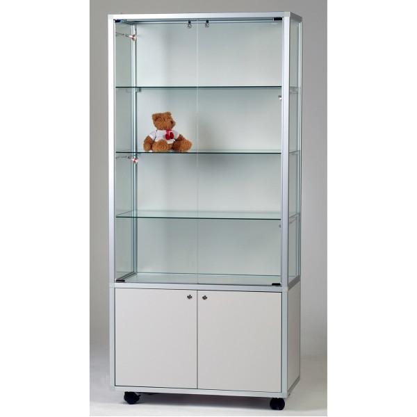 exklusive Glas-Standvitrine 80 cm abschließbar mit Unterschrank mit LED-Beleuchtung  ohne Spiegelrückwand / auf Rollen