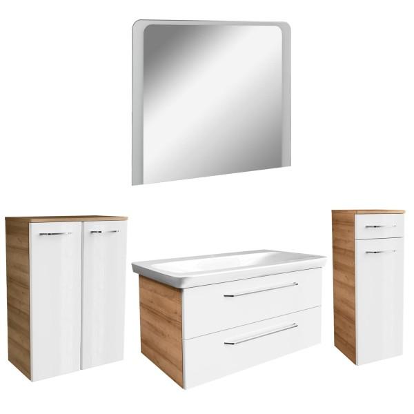 Fackelmann großes hängendes Badmöbel Set braun weiß 5 teilig LED