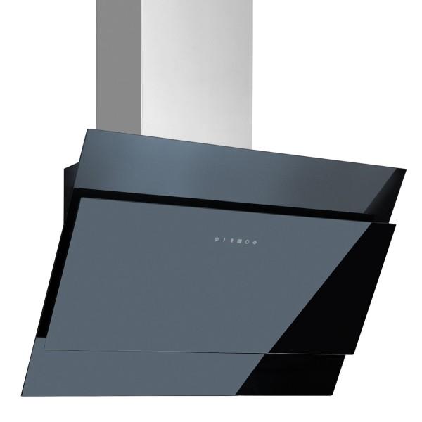 schwarze kopffreie Abluft Wandhaube 60 cm Edelstahl Glas