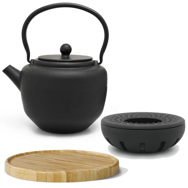 schwarzes asiatisches Guss Teekannen Set 1.3 Liter mit braunem Holzuntersetzer und Teewärmer