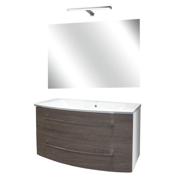 Fackelmann braune Badeinrichtung hängend 100 cm 4 tlg LED