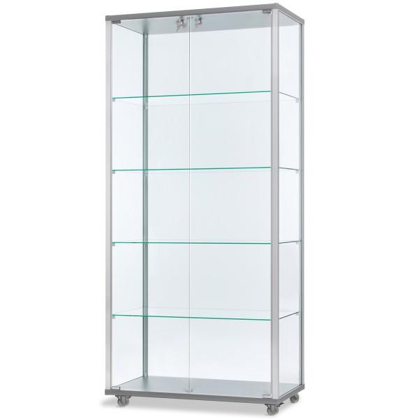 breite verschließbare unbeleuchtete Glasvitrine 80 x 40 cm - Art.-Nr. IV7842-ob-r-gr