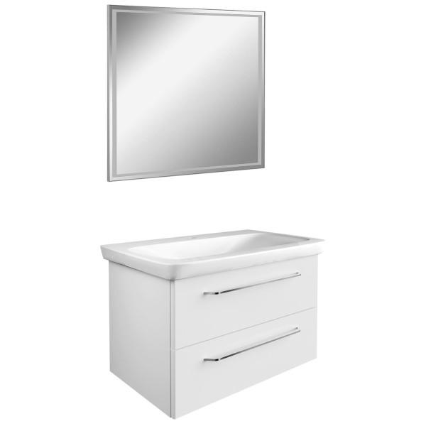 Fackelmann kleines weißes Badmöbel Set hängend 3 teilig LED