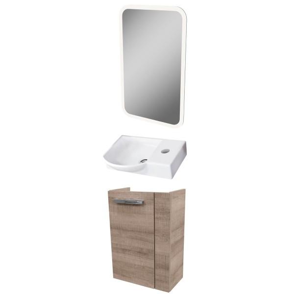 Fackelmann Badmöbel Set A-Vero Gäste WC 3-tlg. 45 cm eiche & LED Spiegelelement