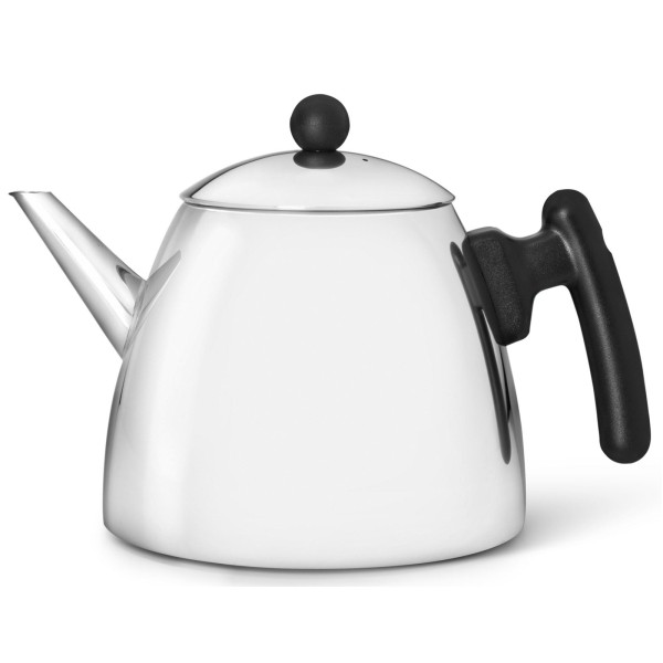 klassische doppelwandige Edelstahl Teekanne 1.2 Liter schwarzer Griff