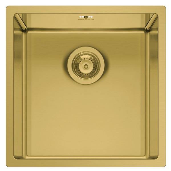 kleine flächenbündige Edeslstahl Küchenspüle 40 cm gold