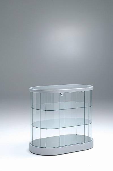 flache ovale moderne Design Glasvitrine Theke mit Schloss 96 x 56 cm rollbar - Art.-Nr. PV96-56 H94-ob-grau
