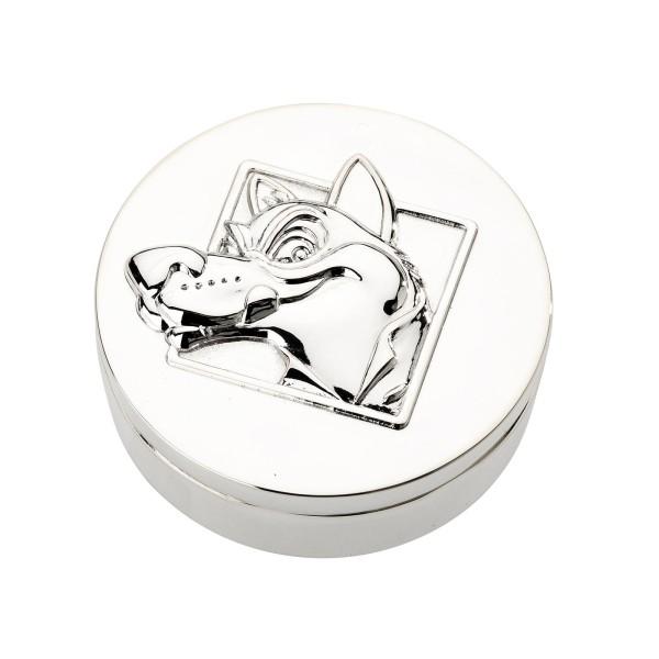 kleine runde versilberte Zahn und Haardose Ø 4 cm Motiv Wolf