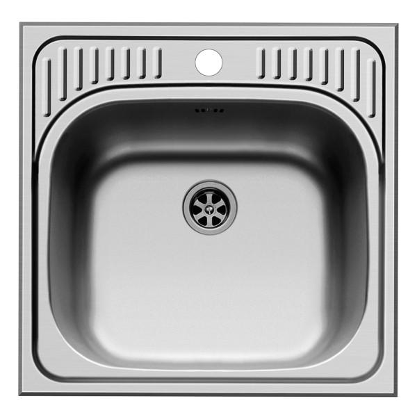 quadratische Edelstahl Einbauspüle 48 cm 1 Becken