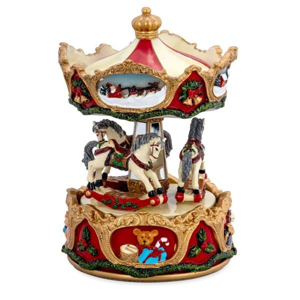große farbige Spieluhr Ø 10.5 cm Karussell mit Pferden Kunststein - Art.-Nr. 6355