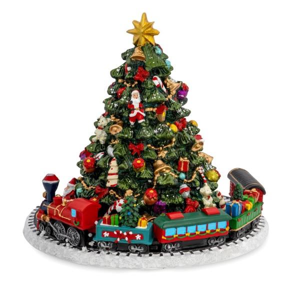 große Spieluhr Ø 16 cm Weihnachtbaum und Zug aus Kunststein - Art.-Nr. 6354
