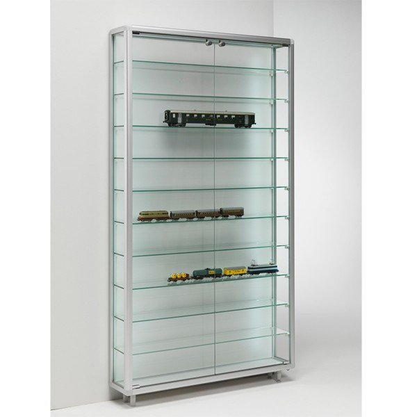 große Sammler Glas Wandvitrine 100 cm abschließbar geringe Tiefe - Art.-Nr. BV9920-ob-gr