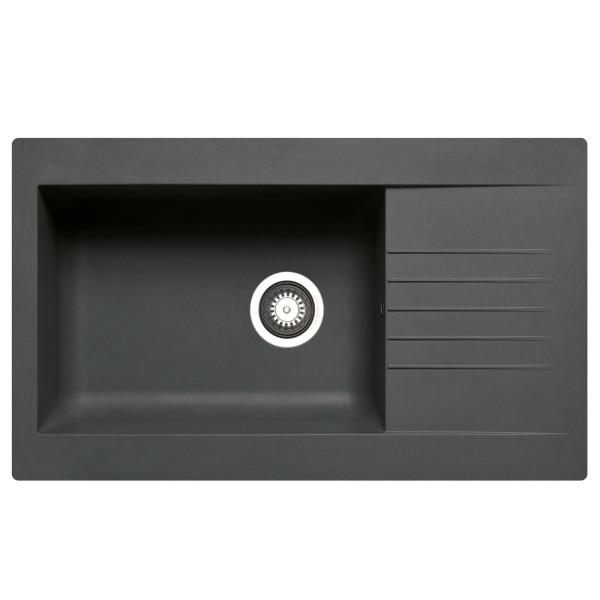 schwarze Einbauspüle 86 cm Fibertek 1 großes Becken