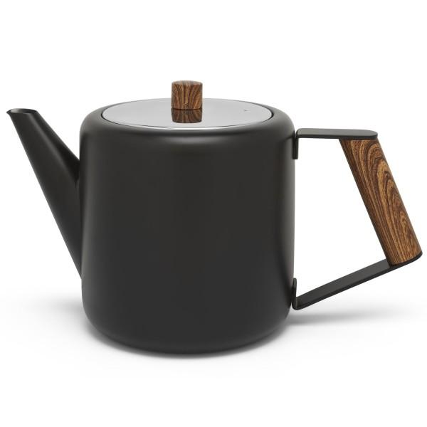 schwarze doppelwandige Edelstahl Teekanne 1.1. L & Holzgriff