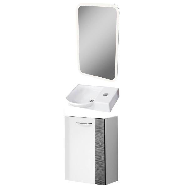 Fackelmann Badmöbel Set Sceno Gäste WC 3-tlg. 45 cm weiß grau LED Spiegelelement
