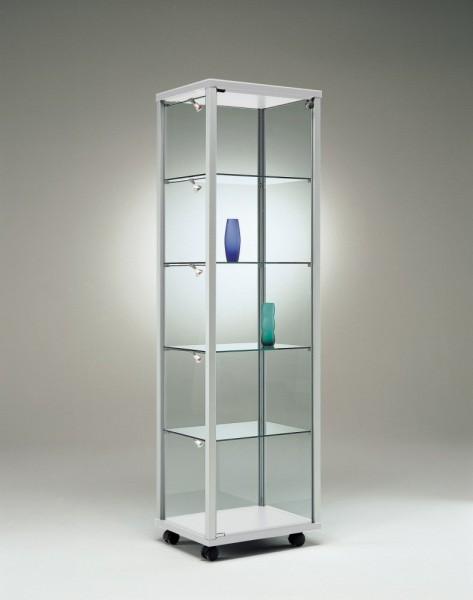 schmale beleuchtete Ausstellungs-Vitrine Glas Alu abschließbar 50 cm  mit Glasrückwand / auf Rollen
