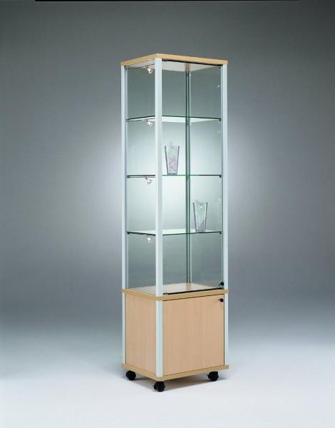 moderne beleuchtete Glasvitrine abschließbar mit Unterschrank 50 x 40 cm  - Art.-Nr. QM5343-mb-r-gr